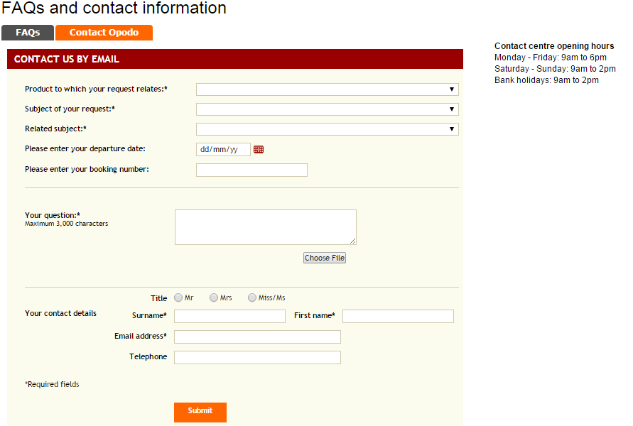 Opodo FAQs and Contact Page