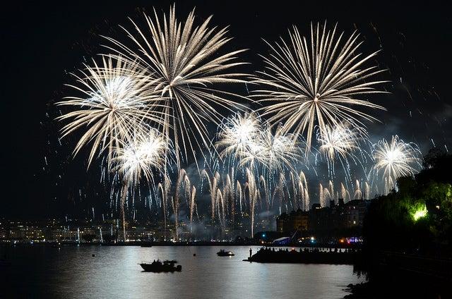 Fireworks over Lake Geneva for New Year's Eve