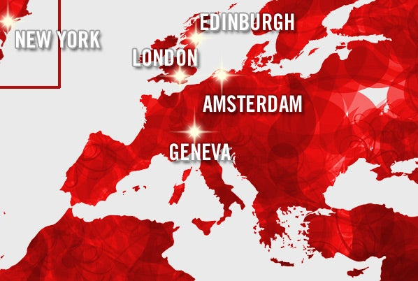 Map of top New Year Destinations 2015