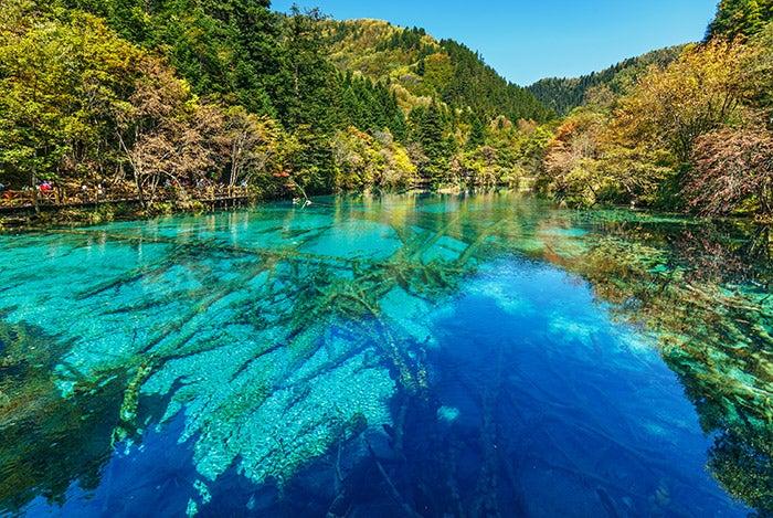 blue lake at Jiuzhaigou National Park China