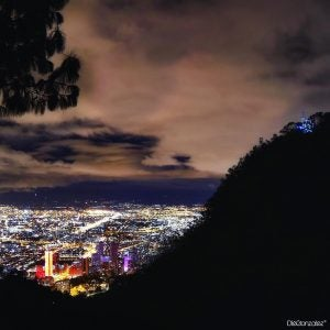a nighttime aerial view of bogota