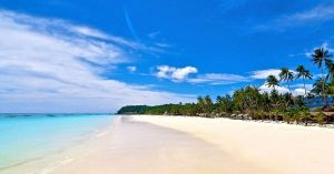 a long white sand beach on boracay island