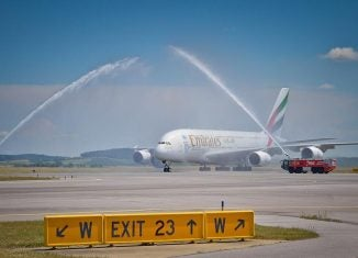 an emirates plane on arrival