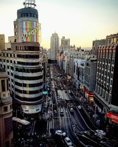 an aerial view of gran via madrid