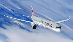 a qatar airways jet flying through the air