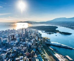 an aerial photo of vancouver