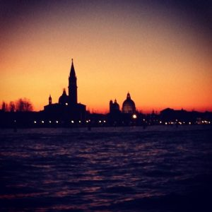 a sunset from the giardini pubblici venice