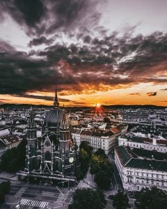 an aerial view of the city of vienna
