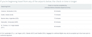 a list of check in time exceptions for american airlines