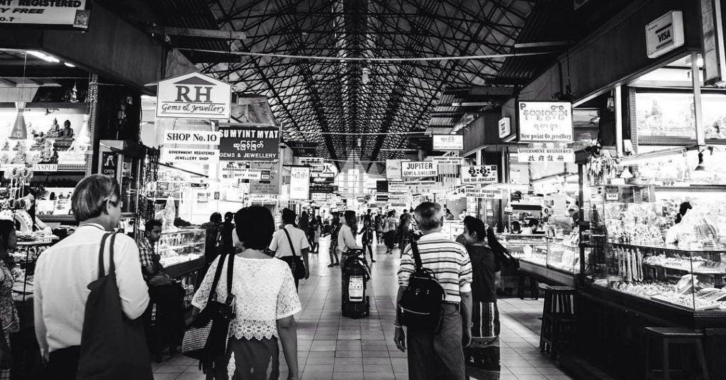 bogyoke market in yangon myanmar