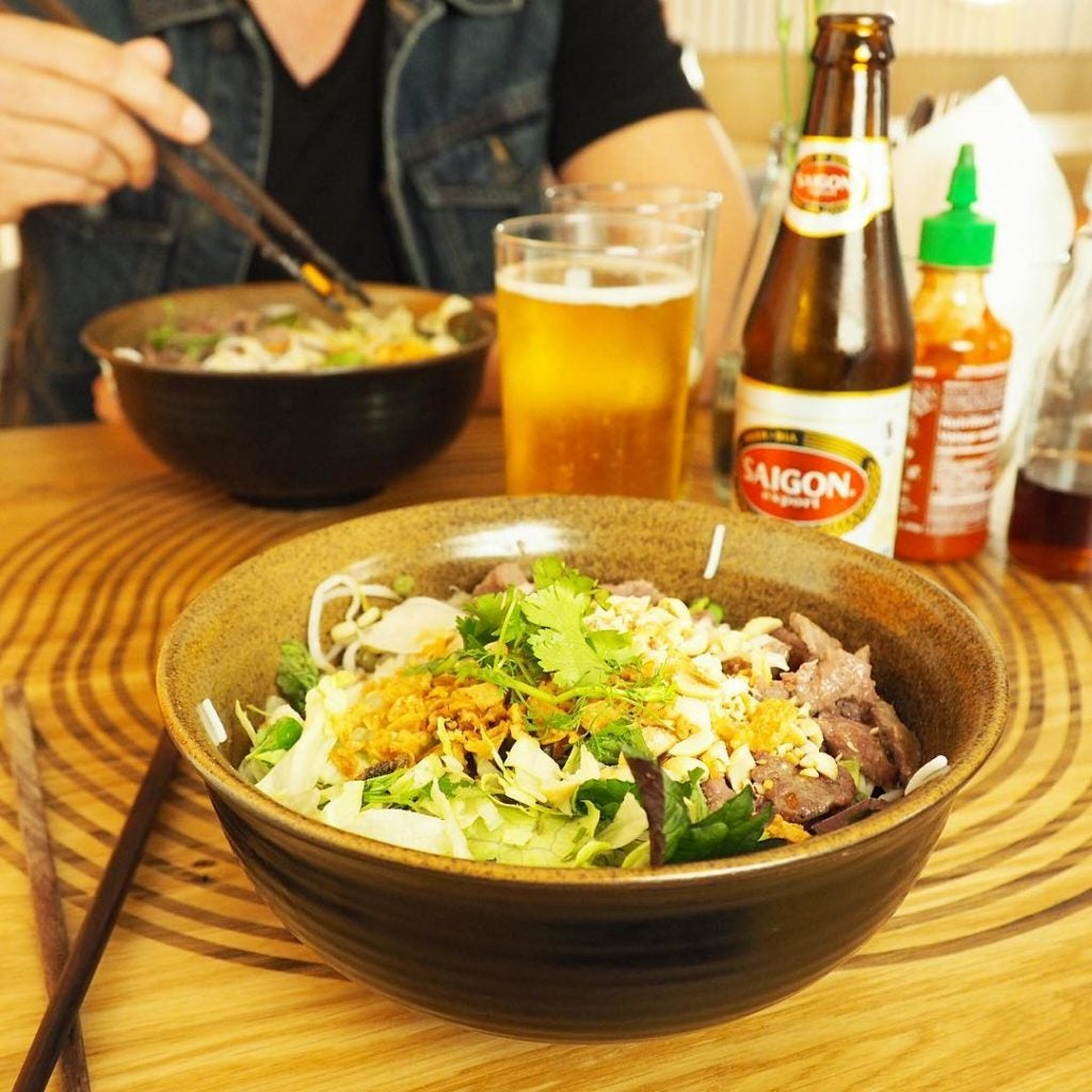 a bowl of bun bo nam bo hanoi vietnam