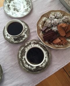coffee and biscuits on a table