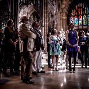 tourists view the manchester cathedral