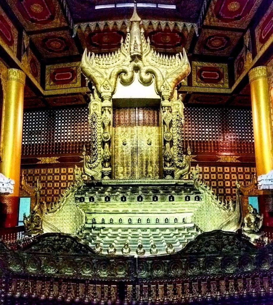 a buddhist shrine at the national museum yangon national museum