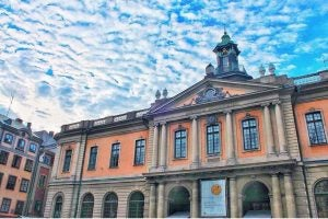 the outside of the nobel museum in stockholm
