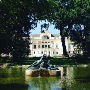 a fountain outside palais lichestein