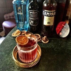 a negroni cocktail at pharmarium in stockholm