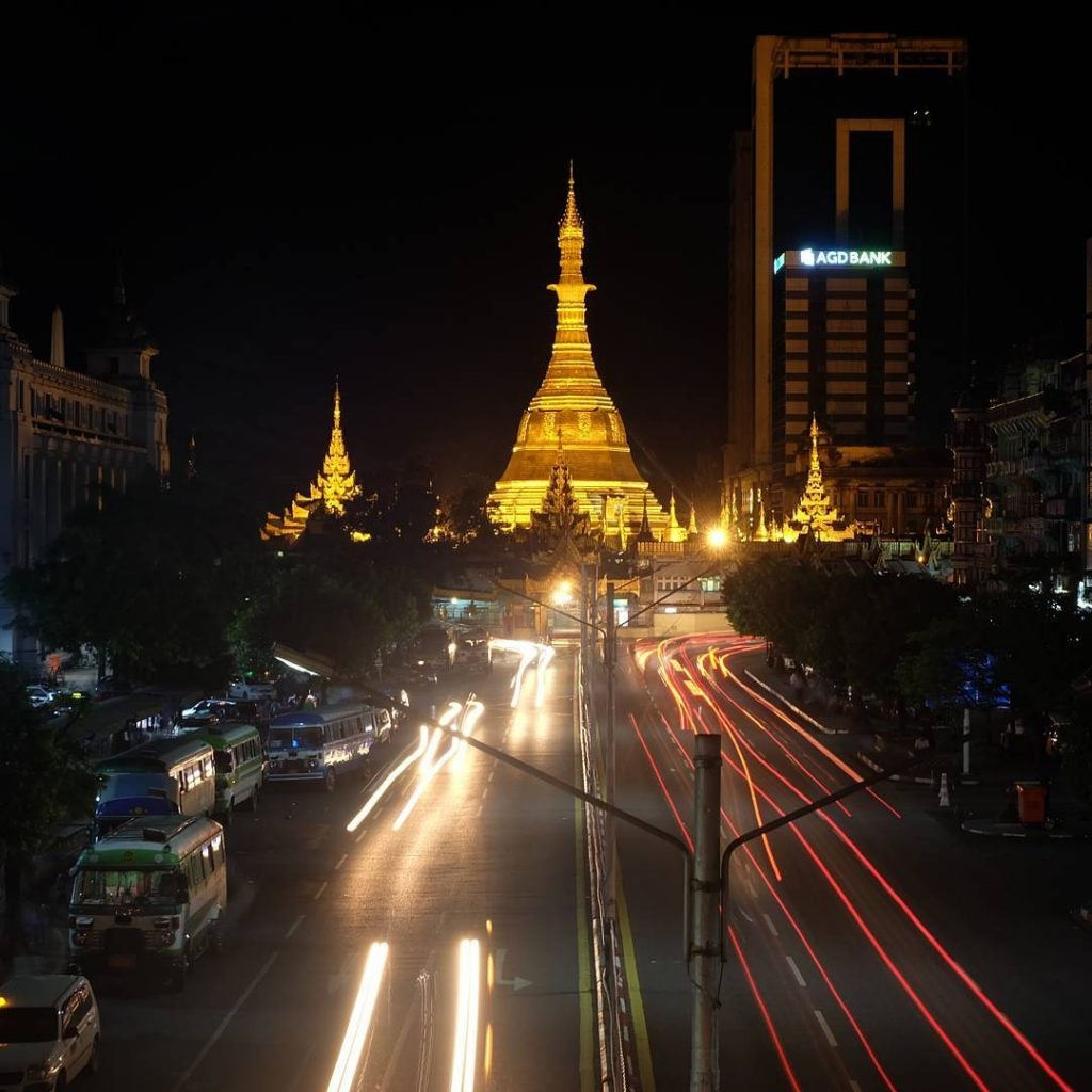 the sule pagoda in yangon myanmar