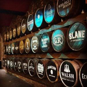 barrels of whiskey at the irish whiskey museum dublin