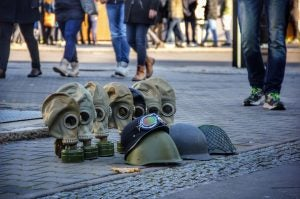 gas masks for sale on a berlin street
