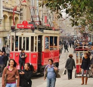 a tram and shoppers on istiklal street istanbul
