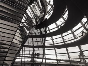 the inside of the dome at the reichstag berlin