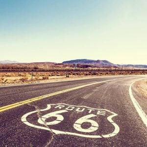 route 66 cutting through a rural desert area usa