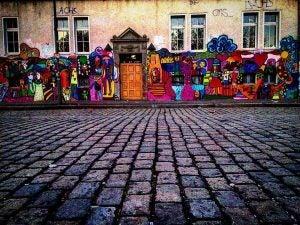 a street art scene on a house in berlin