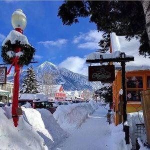 snow piles up in the village of breckenridge colorado