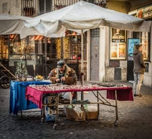 a craftsman at work in campo dei fiori rome