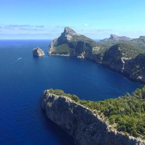 an aerial view of cape formentor mallorca