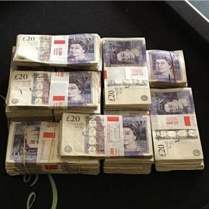 a huge stack of 20 pound notes