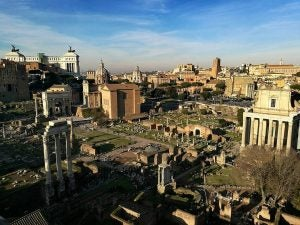 an overhead view of the ruins at the roman forum rome italy