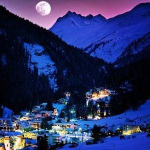 nightfall over st anton ski resort austria