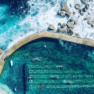 an aerial view of bronte pool sydney