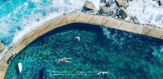 an aerial view of bronte pool sydney