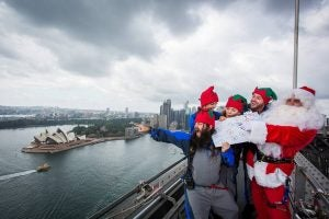 tourists see the city of sydney from the top of harbour bridge