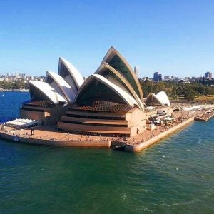 a view of the opera house from sydney harbour