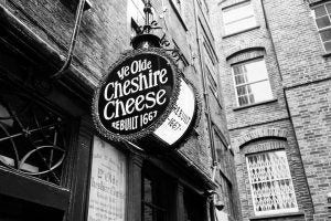 a sign outside ye olde cheshire cheese in london