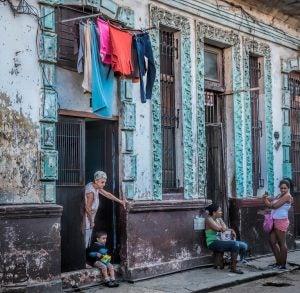 families socialise in the streets of havana cuba