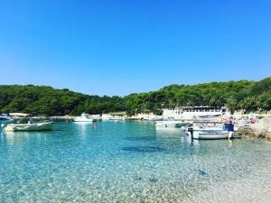 a shallow crystal clear beach at palmianza croatia