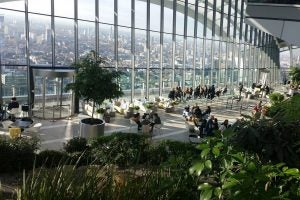 the garden and city view at sky pod london