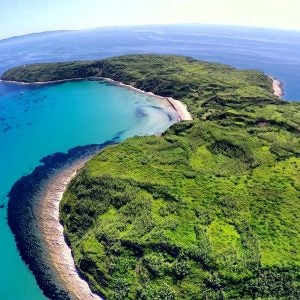 an aerial view of susak island croatia