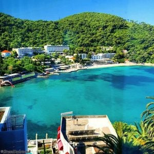 calm blue waters in uvala lapad bay croatia