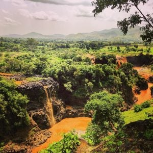 an overhead view of blue nile falls ethiopia