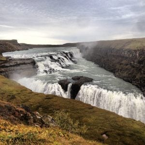 a view of the two drops at gullfoss waterfall iceland