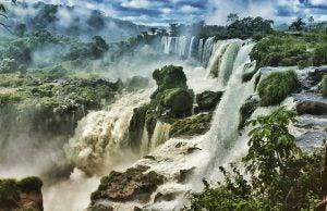 a side view of iguazu falls argentina