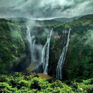 a straight on view of jog falls india