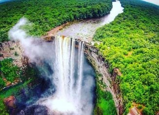 an aerial view of kaieteur falls guyana