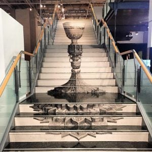 staircase artwork at the museum of new zealand